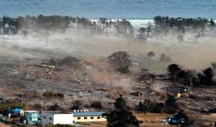 Tsunami hitting Japanese coastal town