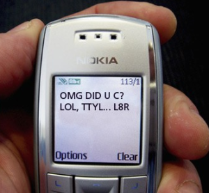Text on Nokia phone screen: OMG DID U C? LOL TTYL . . . L8R
