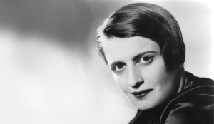 Black and white photo of Ayn Rand