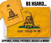Gadsden Flag, T-shirt and flag, apparel