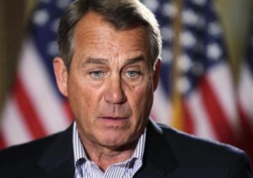 U.S. House Speaker Boehner speaks to the media outside his office on Capitol Hill in Washington