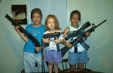 three little girls with weapons