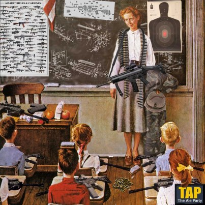 Norman Rockwell-esque rendition of the armed classroom