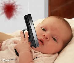 baby with handgun