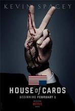 House of Cards -- blood-splattered hand in V sign